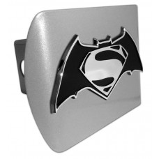 Batman/Superman Chrome Logo on Brushed Steel Hitch Cover