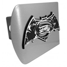 Batman/Superman Distorted Logo on Brushed Steel Hitch Cover