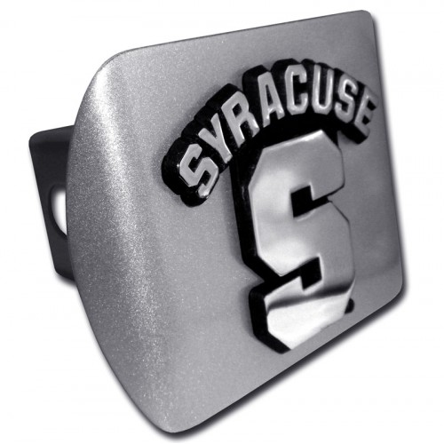 Syracuse Logo Chrome on Brushed Steel Hitch Cover