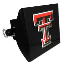 Plastic Texas Tech Color Logo Bling on Black Hitch Cover