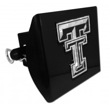 Plastic Texas Tech Silver Logo Bling on Black Hitch Cover