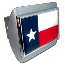 Texas Flag on Brushed Steel Hitch Cover