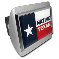 Texas Native Flag on Brushed Steel Hitch Cover