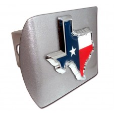 Texas State Color on Brushed Steel Hitch Cover
