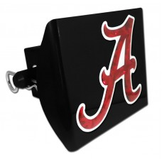 Plastic Alabama Color Logo Bling on Black Hitch Cover