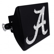 Plastic Alabama Silver Logo Bling on Black Hitch Cover