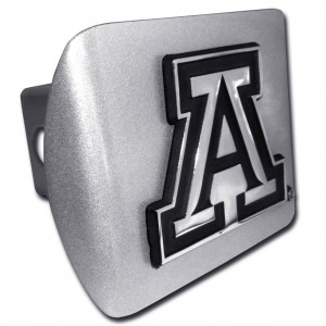 Arizona A Logo on Brushed Steel Hitch Cover
