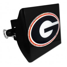 Plastic Georgia Color Logo Bling on Black Hitch Cover