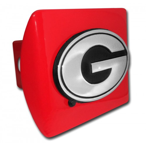 Georgia Logo Chrome on Red Hitch Cover