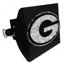 Plastic Georgia Silver Logo Bling on Black Hitch Cover