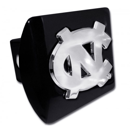 North Carolina Logo Chrome on Black Hitch Cover