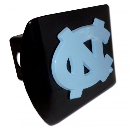 North Carolina Logo Blue on Black Hitch Cover