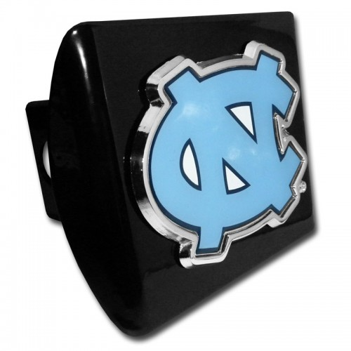 North Carolina Logo Blue with Chrome Border on Black Hitch Cover