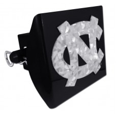 Plastic North Carolina Silver Logo Bling on Black Hitch Cover
