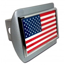 USA Flag on Brushed Steel Hitch Cover