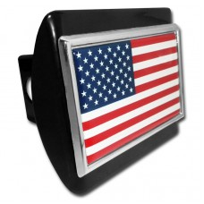 USA Flag on Black Hitch Cover