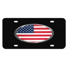 American Flag Oval on Black License Plate