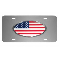 American Flag Oval on Brushed Steel License Plate
