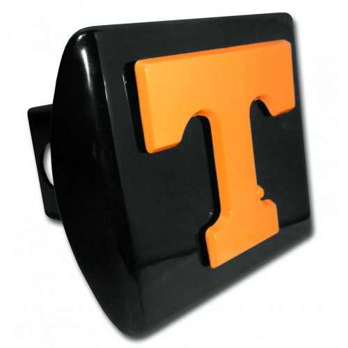 Tennessee Logo Orange on Black Hitch Cover