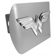 Wonder Woman 3D Logo Chrome on Brushed Steel Hitch Cover