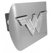 Wonder Woman DOJ 3D Logo Chrome on Brushed Steel Hitch Cover