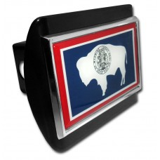 Wyoming Flag on Black Hitch Cover