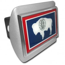 Wyoming Flag on Brushed Steel Hitch Cover