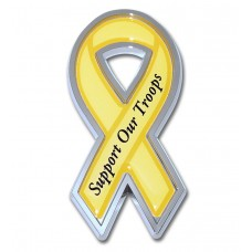 Support Our Troops Yellow and Chrome Ribbon Emblem