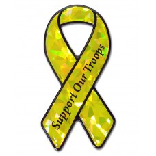 Support Our Troops Yellow Bling Ribbon Emblem