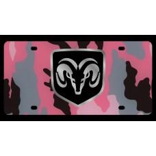 Dodge RAM Framed Pink Camo License Plate