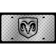 Dodge RAM Framed Diamond Plate License Plate