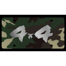 4x4 Brushed Green Camo License Plate