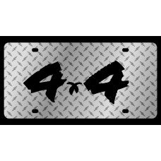 4x4 Brushed Diamond Plate License Plate