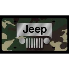 Jeep Grill Logo Green Camo License Plate