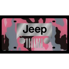 Jeep Grill Logo Pink Camo License Plate