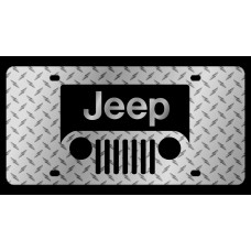 Jeep Grill Diamond Plate License Plate
