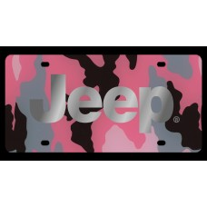 Jeep Pink Camo License Plate