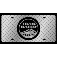 Jeep 4x4 Trail Rated Diamond Plate License Plate