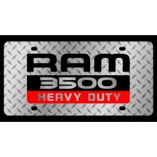 Dodge RAM 3500 Heavy Duty Diamond Plate License Plate