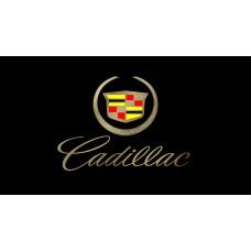 Cadillac Script License Plate on Black Steel