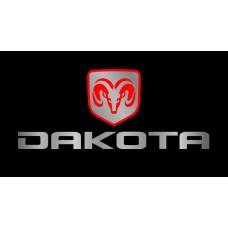 Dodge Dakota License Plate on Black Steel