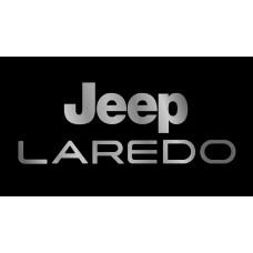 Jeep Laredo License Plate on Black Steel