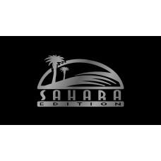 Jeep Sahara License Plate on Black Steel