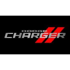 Dodge Charger License Plate on Black Steel