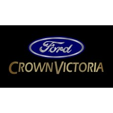 Ford Crown Victoria License Plate on Black Steel