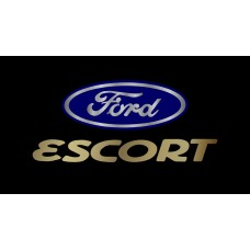 Ford Escort License Plate on Black Steel