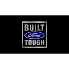 Ford Built Ford Tough License Plate on Black Steel