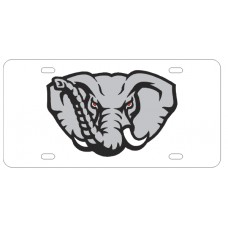 ELEPHANT HEAD - White License Plate