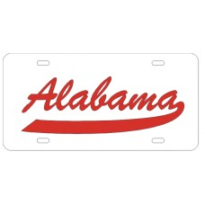 ALABAMA SCRIPT TAIL - White License Plate