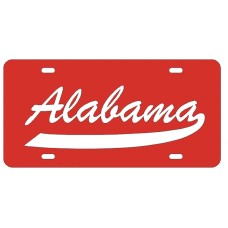 ALABAMA SCRIPT TAIL - Red License Plate